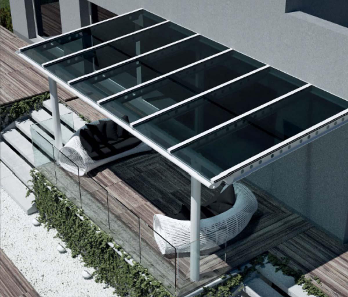 Terrassenüberdachung Typ M mit Sonnenschutzglas